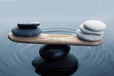 Carefully balanced black and white stone