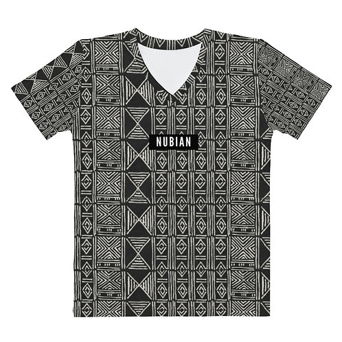 Black Cloth Pattern V-neck