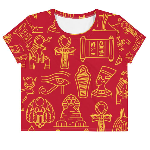 Red Hieroglyph Crop Tee