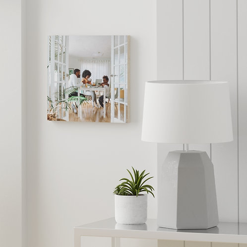 Black Family on Wood Canvas