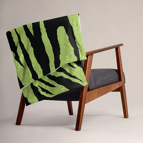 Green Tiger Print Throw Blanket