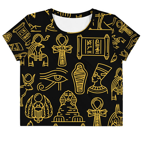 Black Hieroglyph Crop Tee