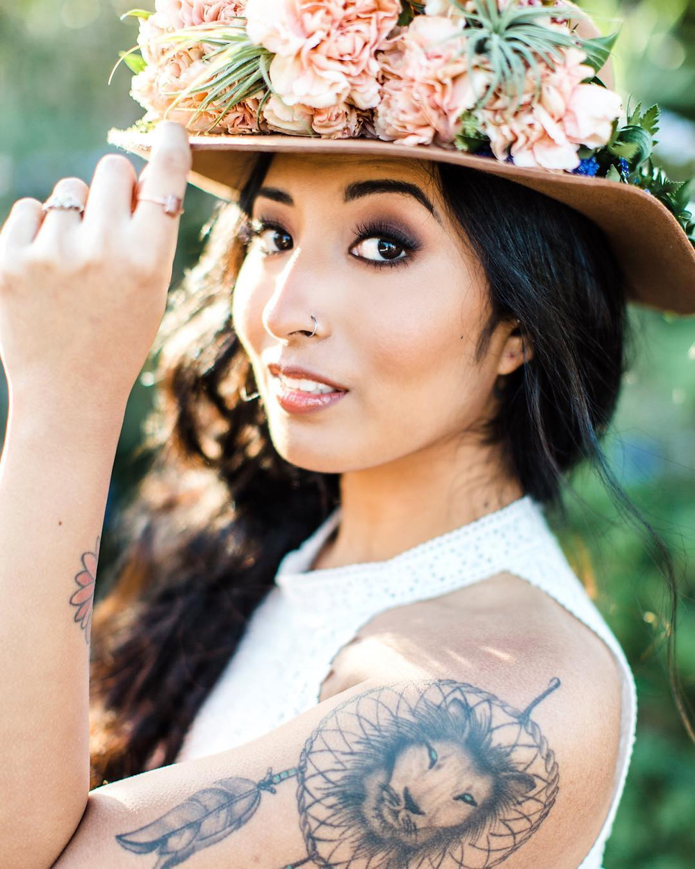 The wedding floppy hat styled with florals by The Bloom Bar Co.