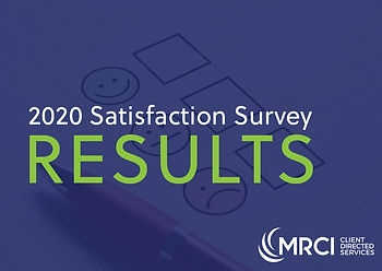 """Three Check boxes with a happy face, neutral face, and sad face, and text """"2020 Satisfaction Survey Results"""""""