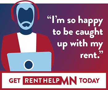 """Illustrated man at computer with the quote """"I'm so happy to be caught up with my rent."""""""
