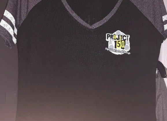 Cotton V-Neck T-Shirt/Jersey Styled Striped Sleeve