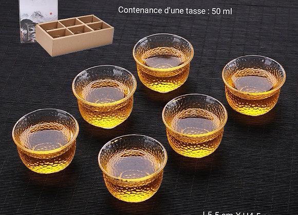 Coffret 6 tasses en verre artisanale-style japonais