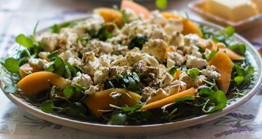 Marinated feta and melon salad