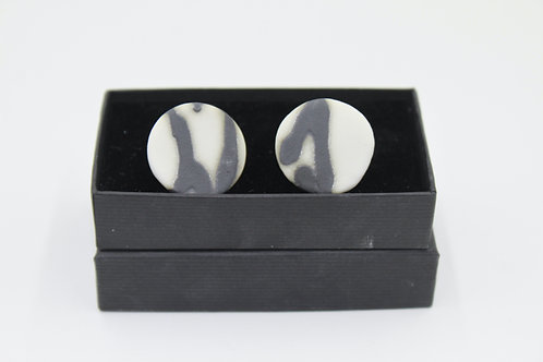 Porcelain cufflinks with silver posts