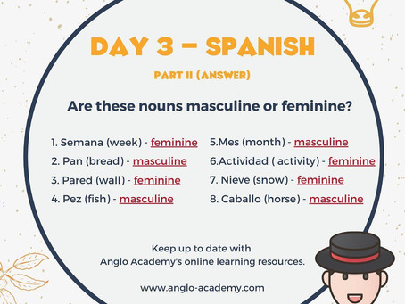 Spanish Week Day 3 Answer