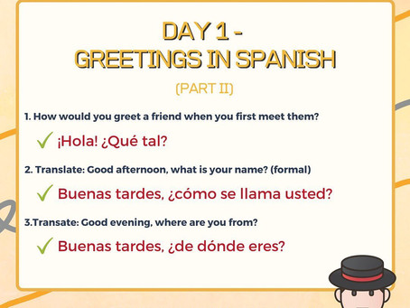 Spanish Week Day 1 Answer
