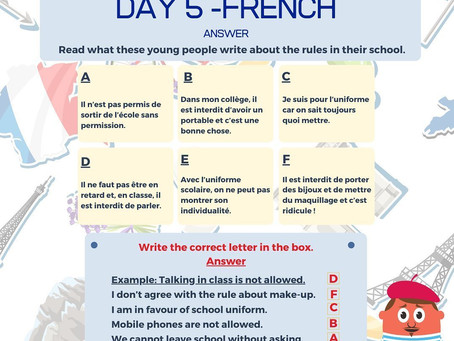 French Week Day 5 Answer