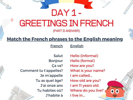 French Week Day 1 Answer