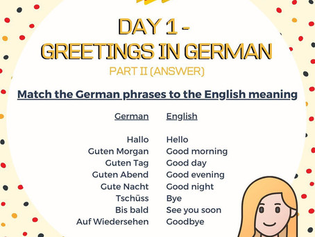 German Week Day 1 Answer