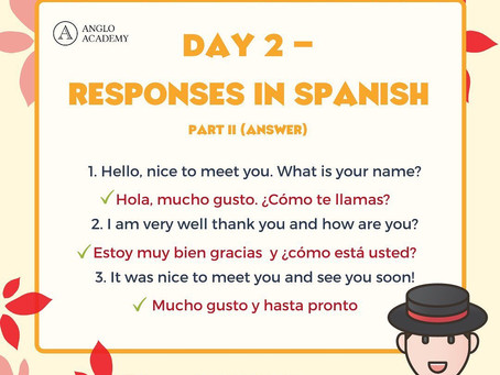 Spanish Week Day 2 Answer