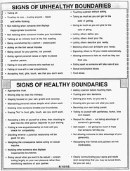 Signs of healthy and unhealthy boundarie