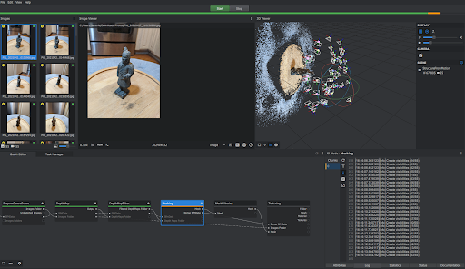 A screenshot of Meshroom's software, showing the images imported and 3D point cloud.