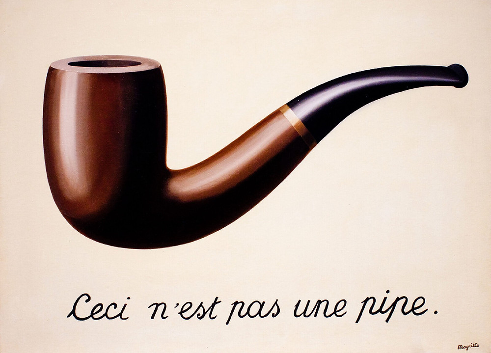 """René Magritte's The Treachery of Images, a painting showing a pipe, with a caption stating """"This is not a pipe."""" Possibly the earliest example of synthetic data."""