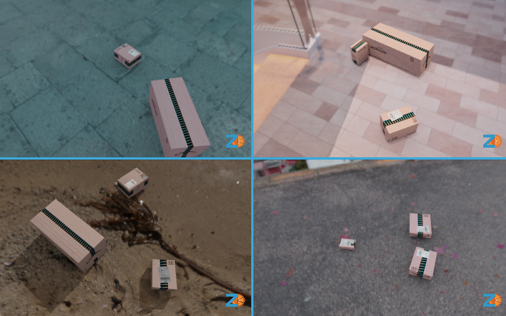 Four images of CGI cardboard shipping boxes.