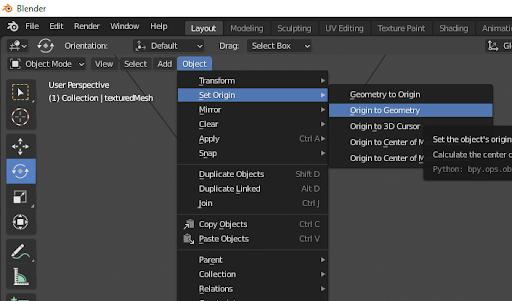A screenshot of the Blender UI, showing the Set Origin dropdown.
