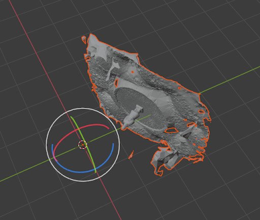 A Blender screenshot, showing our raw model imported sideways.