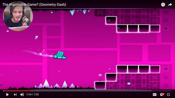Along PewDiePie play Geometry Dash game