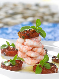 Shrimp tower with baked tomatos