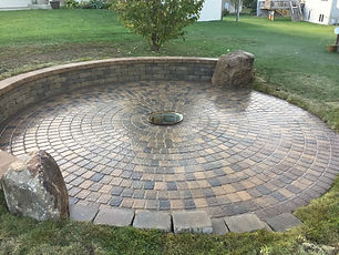 patio, fire pit, boulder, rock
