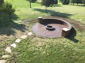 patio, fire pit, brick, paver