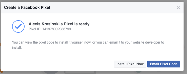Create Facebook Pixel Finished