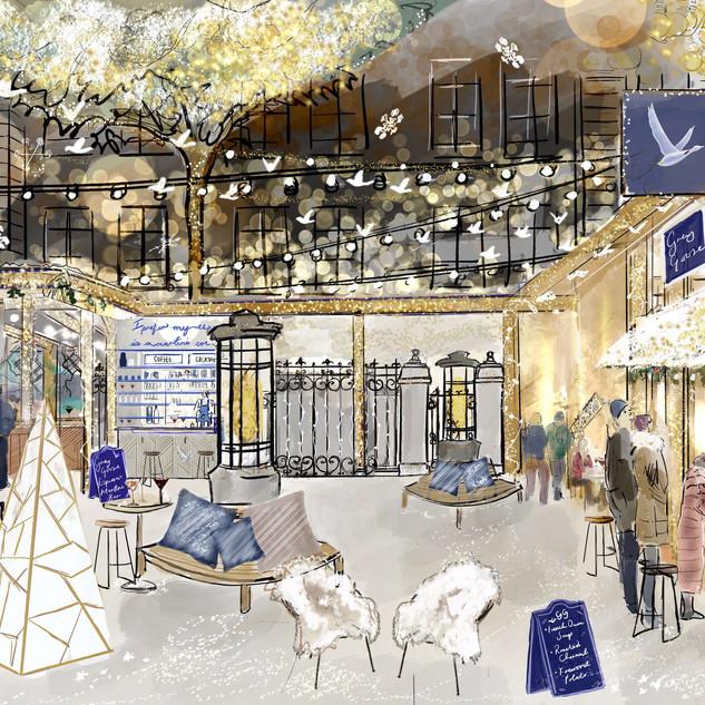 Langham hotel - French Winter Village by Grey Goose