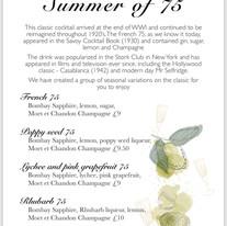Moët & Chandon Summer of 75 menu for Big Red Teapot Co.