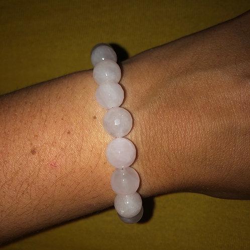 Rose quartz and sterling silver bracelet