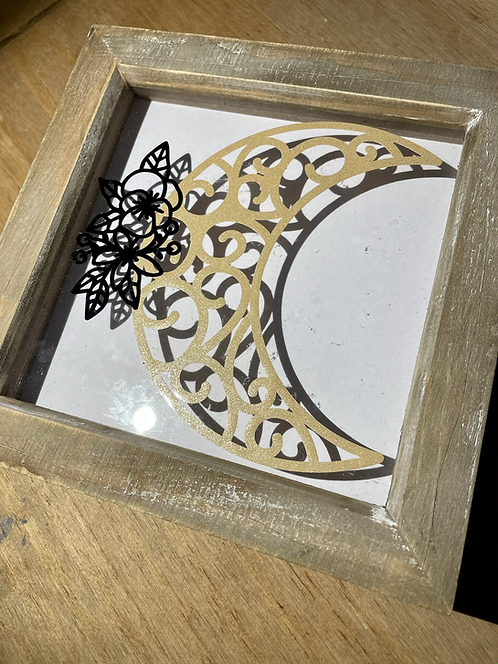 "Floral moon box frame 8x8"""