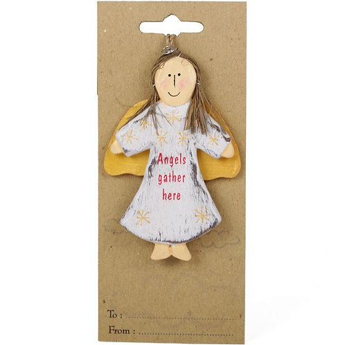 Wooden Angels gather here hanging