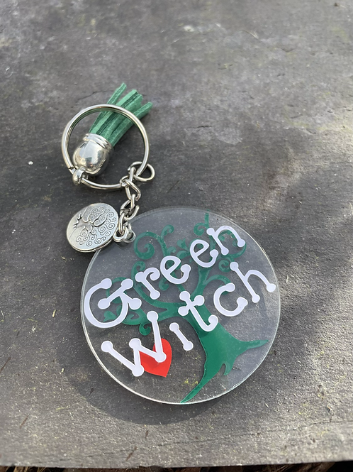 Green Witch Keyring