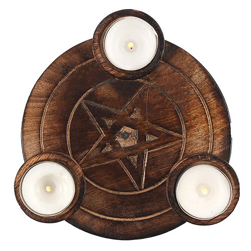 Pentagram triple tealight candle holder