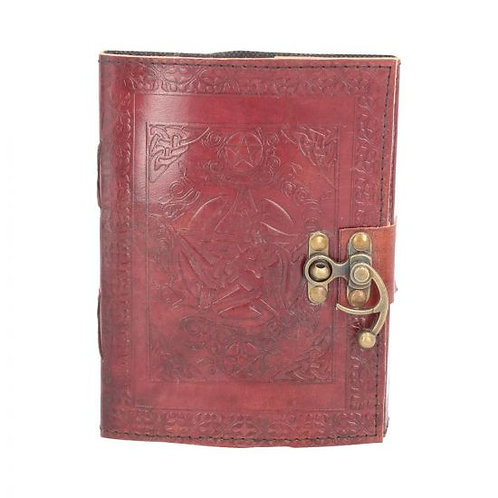 Pentagram leather journal with clasp 15cmx21cm