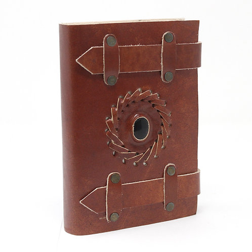 Leather black onyx belted notebook (6x4)