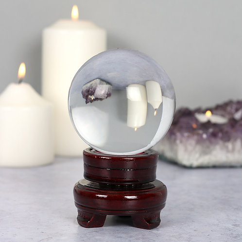 8cm Crystal ball with wooden stand