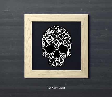 Skull paper square frame 8x8 inch