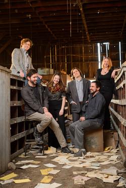 Minos the Saint laughing Ben Herrington, Peter Simon, Jessica Ottaviano, Joel Willson, Micah Blouin,