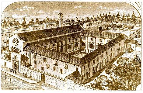 Gravure du couvent des Jacobins au XIXe siècle