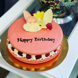 Raspberry Macaron, Raspberry Gel, Lemon Cream and Fresh Raspberries