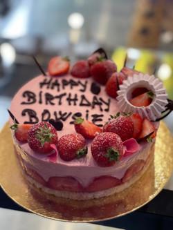 Strawberry Mousse on a Vanilla Sponge