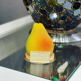 Pear mousse, caramelized pear, chocolate sponge