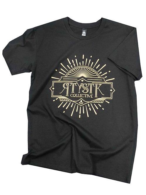 Gold Print T Shirt - Black