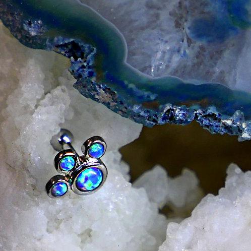 Paw Print Tragus Opal Labret