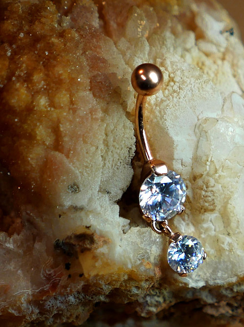 Rose Gold Double Jewelled Navel Bar CZ