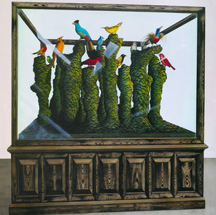 Cabinet of curiosity ( Biyostratigrafi / menzil zonu) / Cabinet of curiosity (Biostratigraphic range zone)– 190 x 210 - acrylic on canvas - 2018